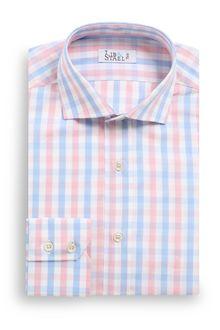 Chemise estivale à carreaux rose et bleu ciel - M19 - Lib & Staël