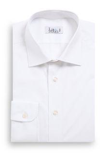 Chemise à col italien en popeline blanche unie - M27 - Lib & Staël