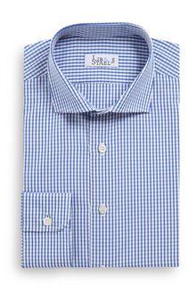 Chemise à col italien en popeline à petits carreaux bleus - M40 - Lib & Staël