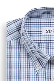Chemise en popeline à carreaux en camaïeu de bleus - M02 - Lib & Staël