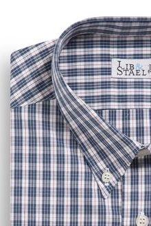 Chemise col boutonné à carreaux bleus et rouges - M09 - Lib & Staël