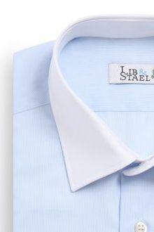 Chemise avec col blanc et poignets mousquetaires bleu uni - M15 - Lib & Stael