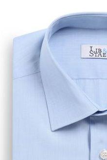 Chemise en fil à fil bleu ciel uni - M21 - Lib & Staël