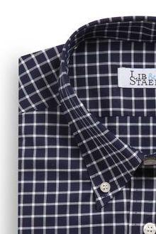 Chemise à col boutonné en popeline à carreaux bleu marine - M22 - Lib & Staël