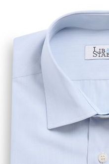 Chemise à micro-rayures bleues et col italien - M34 - Lib & Staël