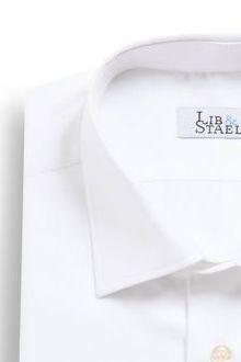 Chemise à poignets mousquetaires en twill blanc uni - M44 - Lib & Staël