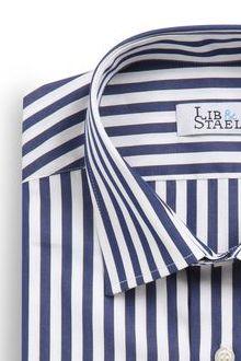 Chemise à rayures bleu marine en popeline - M48 - Lib & Staël