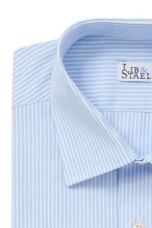 Chemise italienne bleue à fines rayures blanches - M51 - Lib & Staël