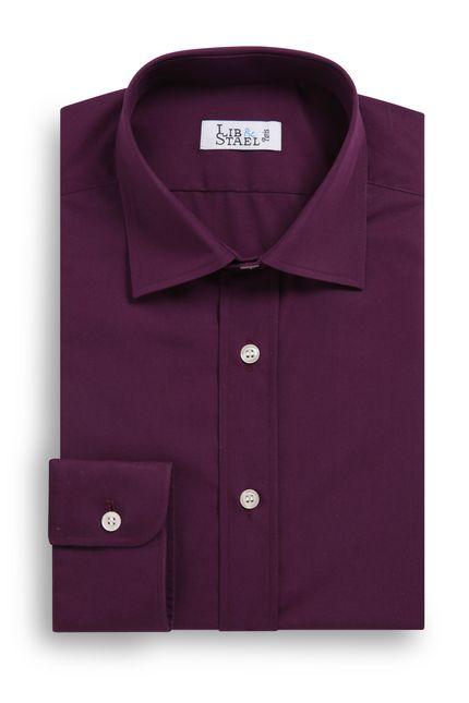 chemise sur mesure casual m26 en popeline couleur prune